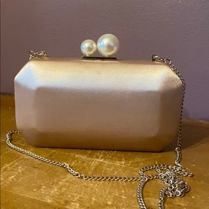 Champagne pink satin pearl clutch